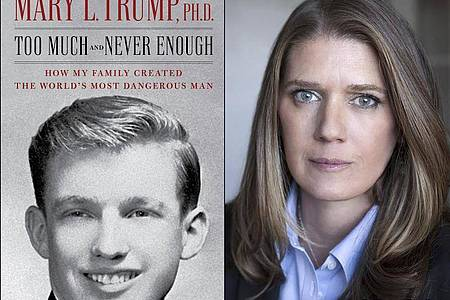 Donald Trumps Nichte Mary Trump neben ihrem Enthüllungsbuch «Too Much and Never Enough: How My Family Created the World`s Most Dangerous Man» («Zu viel und nie genug - Wie meine Familie den gefährlichsten Mann der Welt geschaffen hat»). Foto: Uncredited/Simon & Schuster/AP/dpa